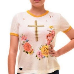 Wildfox Distressed Confessional Floral Ringer Tee